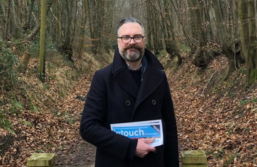 Cllr Ian Mackie at the Thorpe Woods pledging to carry on the fight against the shocking decision to allow 300 houses to be built on Racecourse Plantation.
